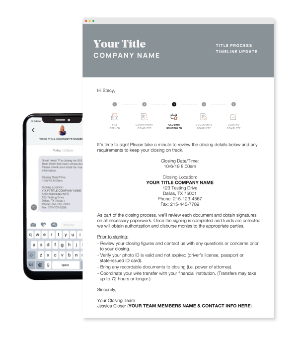 Automated email and text messages